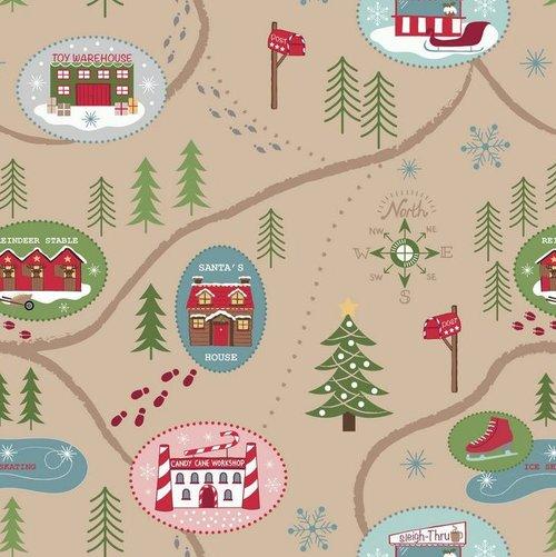 Santa Map Parchment