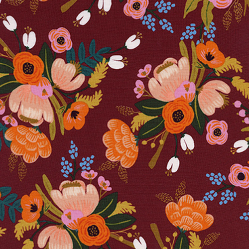 Lively Floral Burgundy Rayon