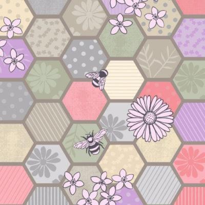 Bee Hexagons Natural