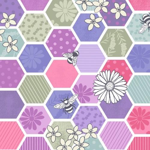 Bee Hexagons Pink