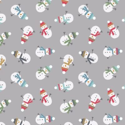 Bolt End Scattered Snowmen Grey
