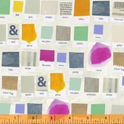 Digitally printed fabric showing swatches of fabric and paint