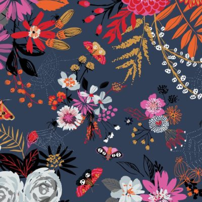 Halloween themed cotton fabric print, showing flowers and moths